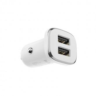 Baltas įkroviklis automobilinis Borofone BZ12 su 2 USB jungtimis (2.4A)