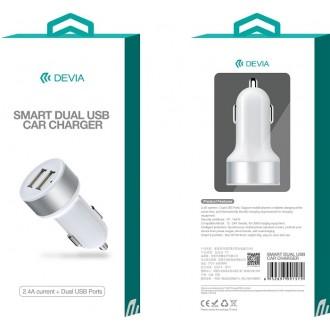Baltas įkroviklis automobilinis Devia Smart su 2 USB jungtimis (2.4A)