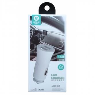 Baltas įkroviklis automobilinis Leslie C18 su 2 USB jungtimis 2.4A (1A+2A)