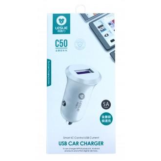 "Baltas įkroviklis automobilinis ""Leslie"" C50 su USB jungtimi 5A"
