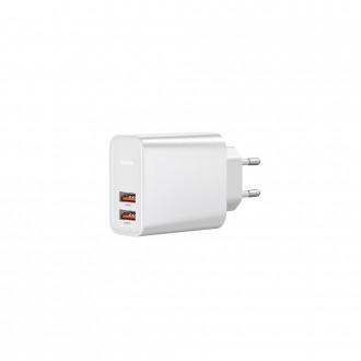 """Baltas įkroviklis buitinis """"Baseus"""" PPS QC3.0 su dviem USB jungtimis 30W"""