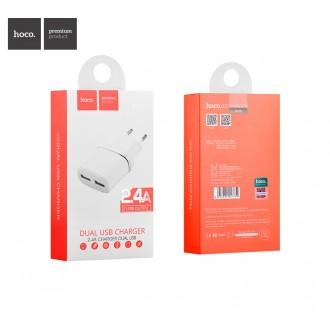 Baltas įkroviklis buitinis Hoco C12 su dviem USB jungtimis (2.4A)