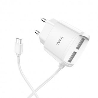 """Baltas įkroviklis buitinis HOCO C59A su """"microUSB"""" (2.4A) + 2 USB jungtis"""