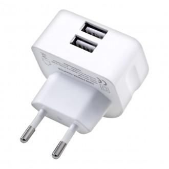 Baltas įkroviklis buitinis Remax RMT7188 su dviem USB jungtimis 2.1A
