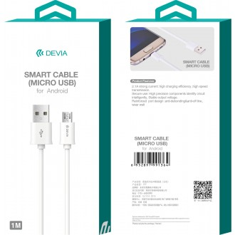 Baltas USB kabelis Devia Smart microUSB 1m
