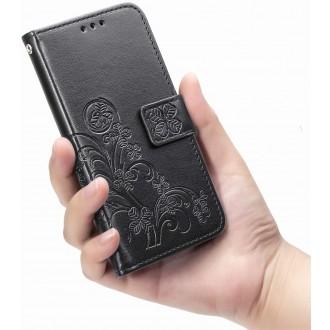 """Juodas atverčiamas dėklas """"Gėlių knyga"""" telefonui Samsung Galaxy A22 5G"""