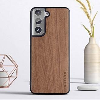 Išskirtinio dizaino silikoninis ''Aioria'' dėklas su medžio imitacija telefonui Huawe P40 LITE E