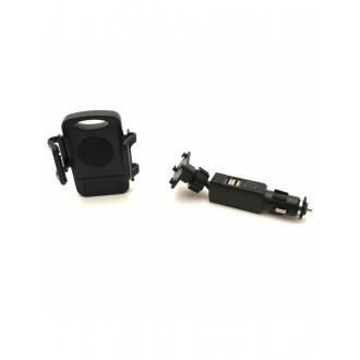 Įkroviklis automobilinis ir Universalus telefono laikiklis su dviem USB jungtimis Tellos CCH-01