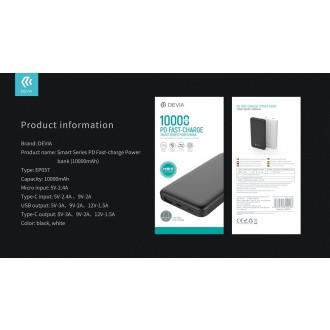 Juoda išorinė baterija Power Bank Devia Smart PD 18W 10000mAh