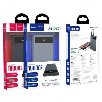 Juoda išorinė baterija Power Bank Hoco J49 Type-C PD+Quick Charge 3.0 (3A) su LCD ekranu 10000mAh