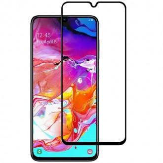 """Juodais apvadais apsauginis grūdintas stiklas Samsung Galaxy A705 A70 telefonui """"Diamond Edge Full Glue"""""""