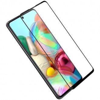 """Juodais apvadais apsauginis grūdintas stiklas Samsung Galaxy A715 A71 telefonui """"Diamond Edge Full Glue"""""""