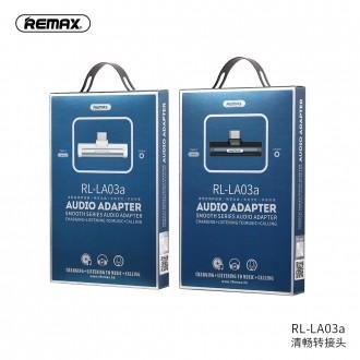Juodas adapteris Remax RL-LA03a iš Type-C į Type-C + 3,5mm