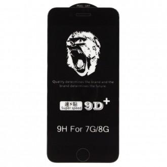 """Juodais apvadais apsauginis grūdintas stiklas Apple iPhone 7 / 8 telefonui """"9D Gorilla """""""
