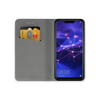 """Juodas atverčiamas dėklas Huawei Mate 20 Lite telefonui """"Smart Magnet"""""""