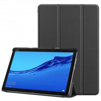 """Juodas atverčiamas dėklas Huawei MediaPad M5 Lite 10.1  """"Smart Leather"""""""