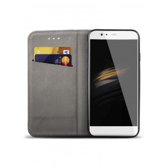 """Juodas atverčiamas dėklas Huawei P10 telefonui """"Smart Book Magnet"""""""