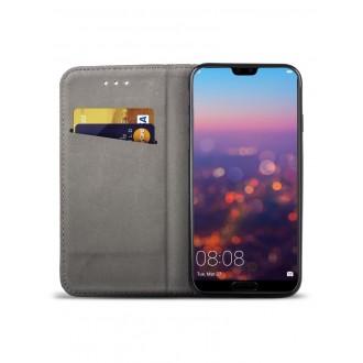 """Juodas atverčiamas dėklas Huawei P20 Lite telefonui """"Smart Magnet"""""""