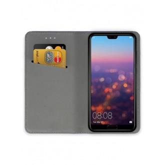 """Juodas atverčiamas dėklas Huawei P20 telefonui """"Smart Magnet"""""""