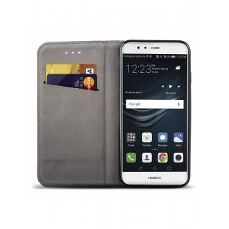 """Juodas atverčiamas dėklas Huawei P9 telefonui """"Smart Magnet"""""""