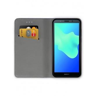 """Juodas atverčiamas dėklas Huawei Y5 2018 / Y5 Prime 2018 / Honor 7S telefonui """"Smart Magnet"""""""