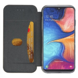 """Juodas atverčiamas dėklas Samsung Galaxy A202 A20e telefonui """"Book Elegance"""""""