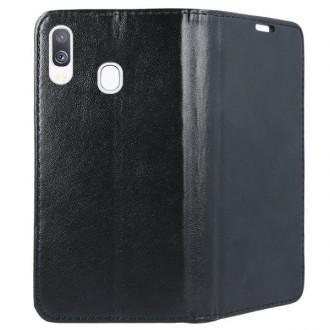 """Juodas atverčiamas dėklas Samsung Galaxy A405 A40 telefonui """"Magnetic book"""""""