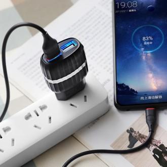 Juodas buitinis įkroviklis Borofone BA25A su dviem USB jungtimis + microUSB (2.1A)