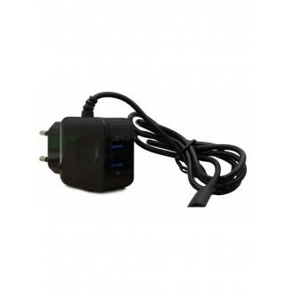 "Juodas buitinis įkroviklis F13c FastCharging su 2 USB jungtimis (3.1A) ""microUSB"""