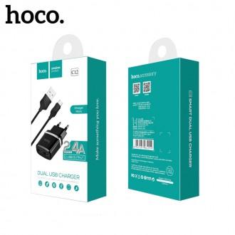 Juodas buitinis įkroviklis Hoco C12 + microUSB (2.4A)