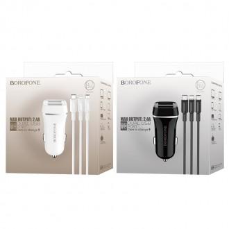 Juodas įkroviklis automobilinis Borofone BZ2 su 2 USB jungtimis + microUSB (2.4A)