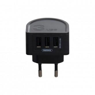 Juodas įkroviklis buitinis Remax RP-U32 su trimis USB jungtimis 2.4A