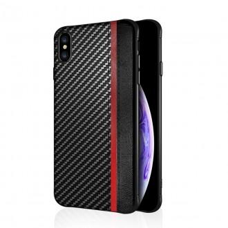 """Juodas silikoninis dėklas Apple iPhone XS Max telefonui """"Mulsae Carbon"""""""