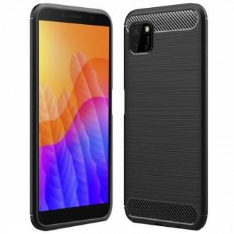 """Juodas silikoninis dėklas Huawei Y5P telefonui """"Carbon Lux"""""""