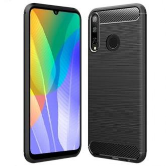 """Juodas silikoninis dėklas Huawei Y6P telefonui """"Carbon Lux"""""""