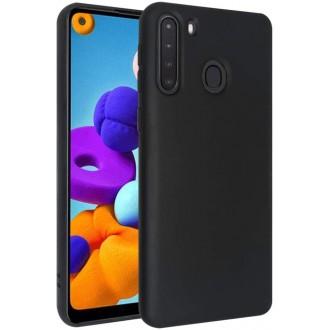 """Juodas silikoninis dėklas Samsung Galaxy A21 telefonui """"Liquid Silicone"""" 1.5mm"""