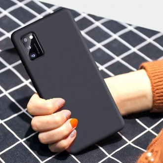 """Juodas silikoninis dėklas Samsung Galaxy A41 telefonui """"Liquid Silicone"""" 1.5mm"""