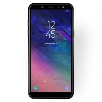 """Juodas silikoninis dėklas Samsung Galaxy A600 A6 2018 telefonui """"Rubber TPU"""""""