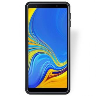 """Juodas silikoninis dėklas Samsung Galaxy A750 A7 2018 telefonui """"Rubber TPU"""""""