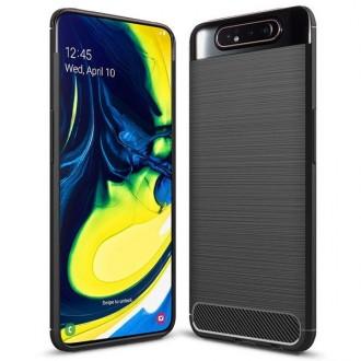 """Juodas silikoninis dėklas Samsung Galaxy A805 A80 telefonui """"Carbon Lux"""""""