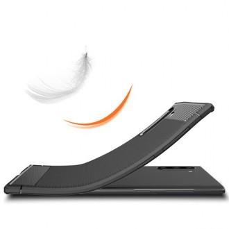 """Juodas silikoninis dėklas Samsung Galaxy Note 10 telefonui """"Carbon Lux"""""""