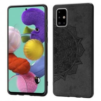 Juodas silikoninis dėklas su medžiaginiu atvaizdu Samsung Galaxy A715 A71 telefonui