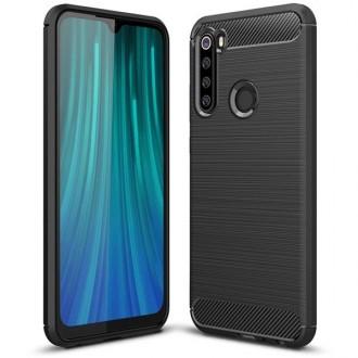 """Juodas silikoninis dėklas Xiaomi Redmi Note 8 telefonui """"Carbon Lux"""""""