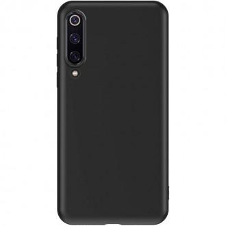 """Juodas silikoninis dėklas Xiaomi Redmi Note 8 telefonui """"Liquid Silicone"""" 2.0mm"""