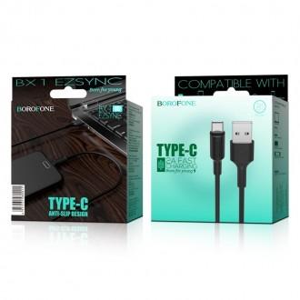 Juodas USB kabelis Borofone BX1 Type-C 1.0m