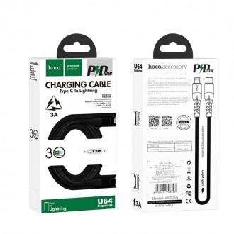 Juodas USB kabelis Hoco U64 PD Type-C į Lightning