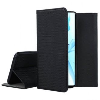 """Juodos spalvos atverčiamas dėklas Apple iPhone 12 / 12 Pro telefonui """"Smart Magnet"""""""
