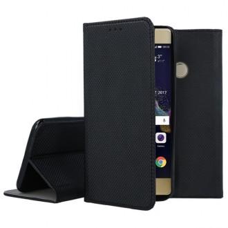 """Juodos spalvos atverčiamas dėklas Huawei P8 Lite 2017 / P9 Lite 2017 telefonui """"Smart Magnet"""""""