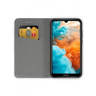 """Juodos spalvos atverčiamas dėklas Huawei Y6 2019 / Y6 Pro 2019 telefonui """"Smart Magnet"""""""