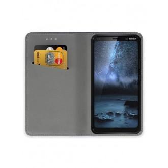 """Juodos spalvos atverčiamas dėklas Nokia 9 PureView telefonui """"Smart Magnet"""""""